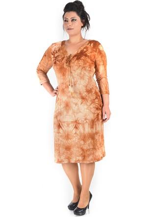 Plus Kahve Batik Kuş Gözlü Elbise 54-56