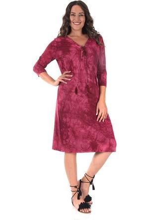 Plus Bordo Batik Kuş Gözlü Elbise 54-56