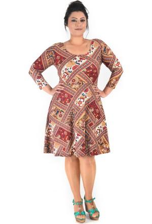 Plus Kırmızı Desenli Truvakar Kol Elbise 44-46