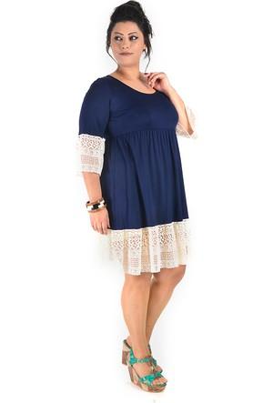 Plus Eteği ve Kolu İşli Lacivert Elbise 44-46
