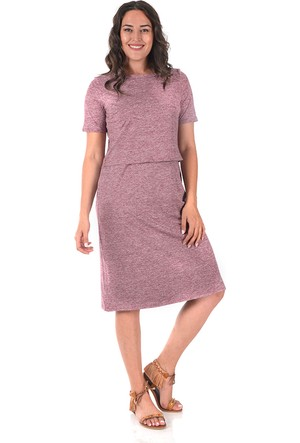 Plus Bordo İki Parça Görünümlü Elbise 56