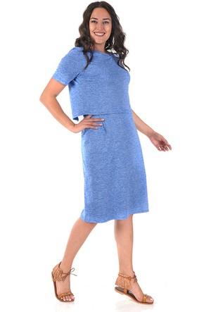 Plus Mavi İki Parça Görünümlü Elbise 56