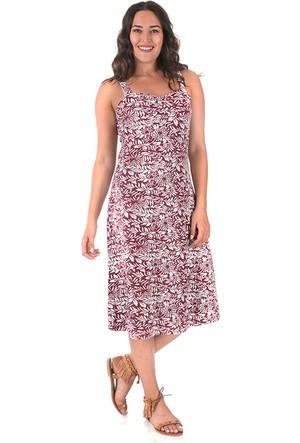 Plus Bordo Çiçekli Kalp Yakalı Penye Elbise 52-54