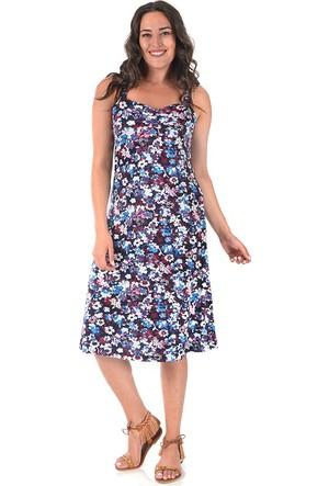 Plus Mor Desenli Kalp Yakalı Penye Elbise 52-54