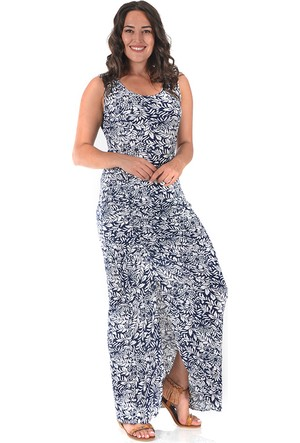 Plus Lacivert Yırtmaçlı Büzgülü Elbise 54-56