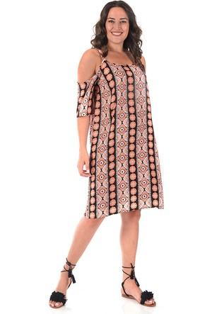 Plus Turuncu Omzu Açık Elbise 54-56