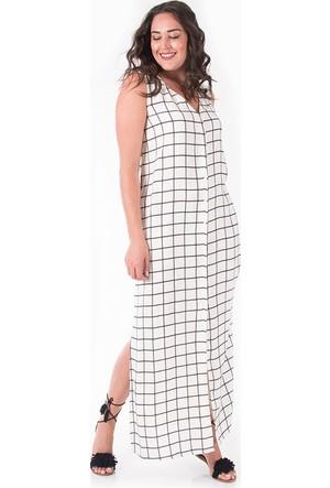 Plus Beyaz V Yaka Düğmeli Uzun Elbise 48-50