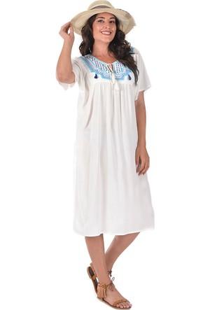 Plus Beyaz Önü Büzgülü Ve İşlemeli Elbise 54-56