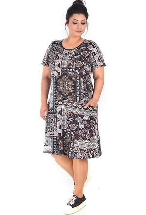 Tepa Siyah Patchwork Cepli Elbise 50