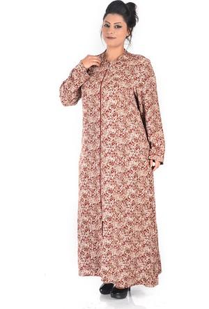 Tepa Bordo Çiçekli Uzun Elbise 48