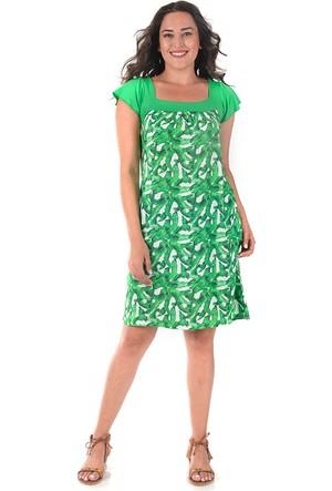 Tepa Yeşil Desenli Marine Elbise 48
