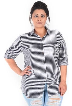 Plus Lacivert Çizgili uzun Kollu Gömlek 52