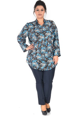 Tepa Mavi Çiçekli Taylor Gömlek 50