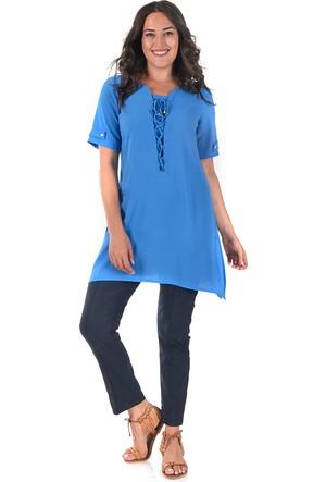 Plus Mavi Uzun Dökümlü Tunik 54-56