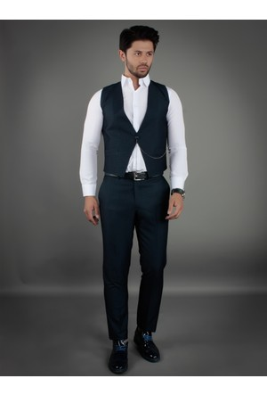 Brango 38006-19 Tek Düğme Lacivert Yelek Pantolon Takım