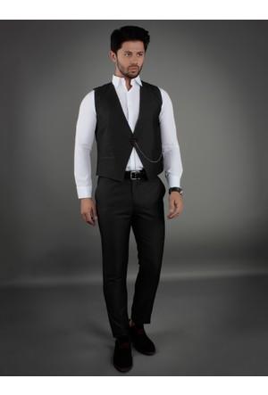 Brango 38006-9 Tek Düğme Siyah Yelek Pantolon Takım