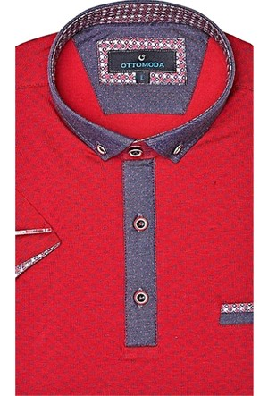Ottomoda Desenli Kırmızı Renk Erkek Polo Tshirt