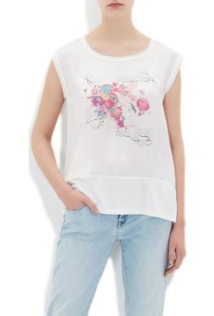 Mavi Baskılı Beyaz T-Shirt