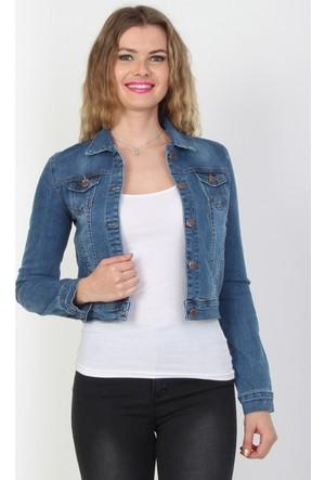 E-Giyimsepeti Likralı Cep Detaylı Kadın Kot Ceket