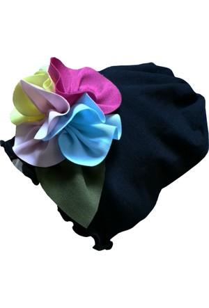 Babygiz Çiçek Aksesuarlı Siyah Şapka