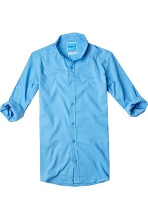 Fiyesmen Slim Fit Likralı Petek Dokulu Erkek Gömlek