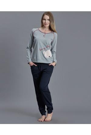Dagi Kadın Pijama Takımı Gri Melanj B0216K0080