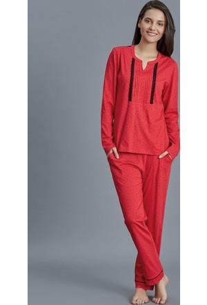 Dagi Kadın Pijama Takımı Kırmızı B0216K0140