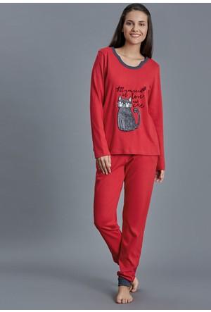 Dagi Kadın Pijama Takımı Kırmızı B0216K0950