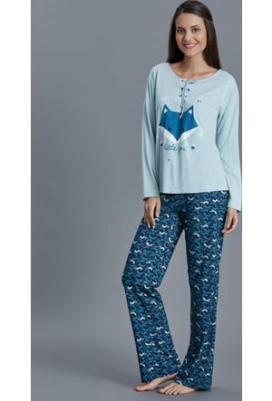 Dagi Kadın Pijama Takımı Mavi B0216K0480