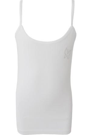 Özkan Kız Çocuk Ribana Taşlı İp Askılı Atlet 0817 Beyaz