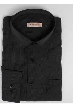 Brango 12003-211 Klasik Çizgili Siyah Gömlek