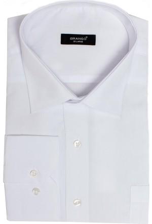 Brango 12101-28 Klasik Büyük Beden Düz Beyaz Gömlek