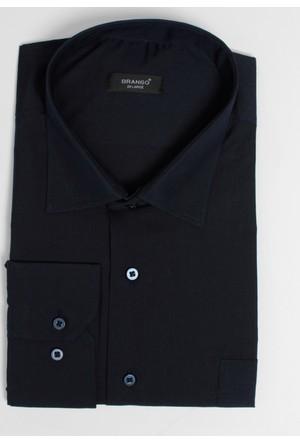 Brango 12101-61 Klasik Büyük Beden Düz Lacivert Gömlek