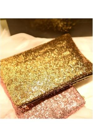 Elya Pullu Vintage Gece Çantası Gold