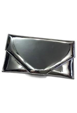 Anrasit Renk Ayna Deri İnce Zarf Abiye Çanta Parlak