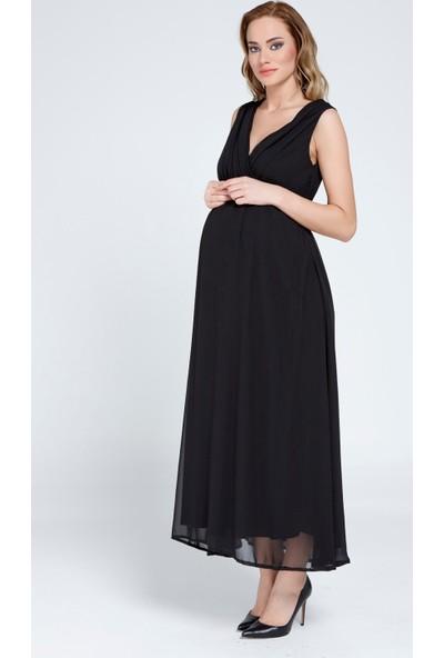 Gör&Sin Hamile Şifon Elbise Siyah