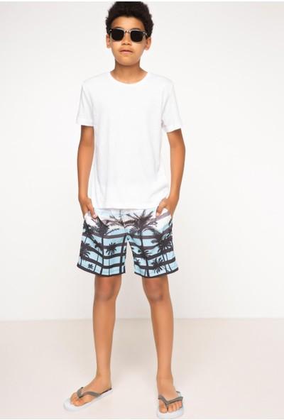 DeFacto Erkek Çocuk Palmiye Baskılı Yüzme Şortu Mavi