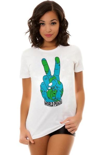 Tshirthane World Peace Ekru Tshırt T-Shirt