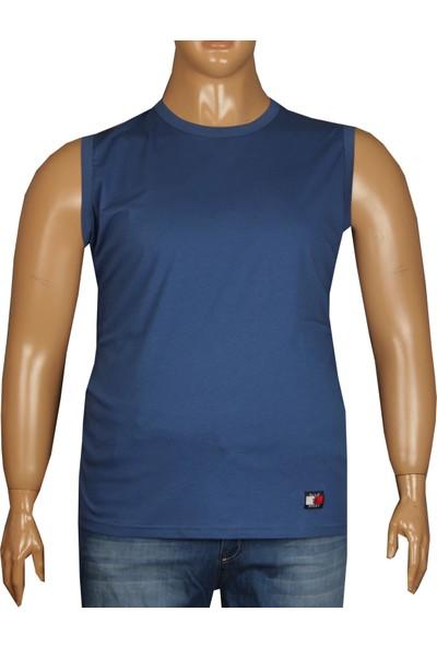 Fala Jeans Büyük Beden Yazlık Kolsuz Tshirt İndigo
