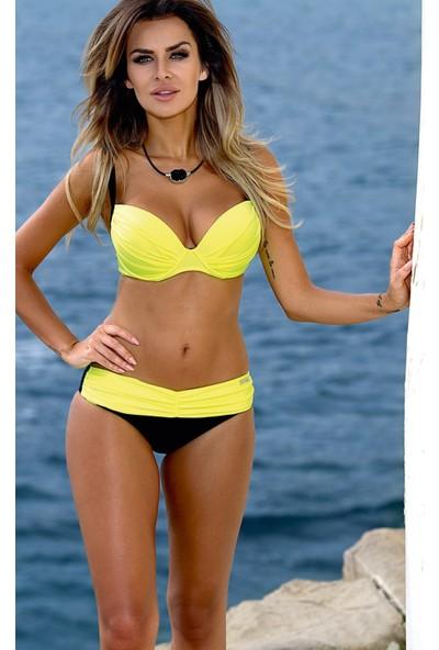 Angelsin Sarı Siyah Bikini Takım