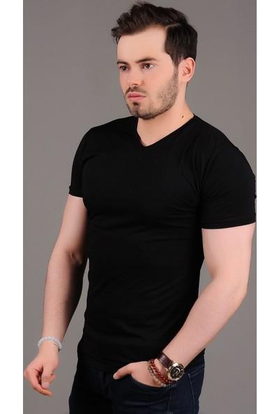 Modaateşi V Yaka Basic Siyah T-Shirt