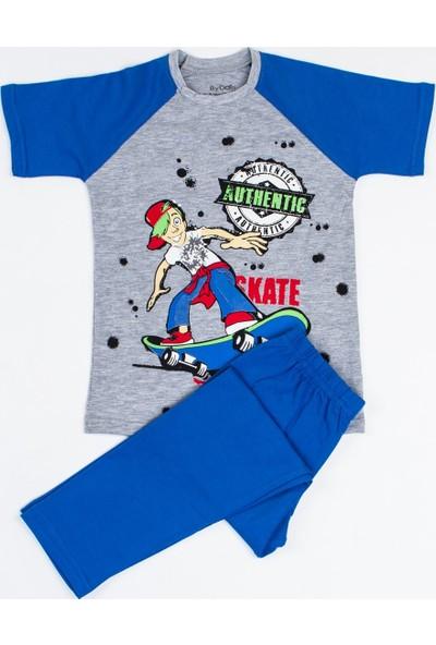 ByDon Erkek Çocuk Pijama Takımı Yarım Kol Gri Melanj