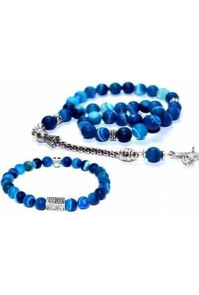 Rd Ekoavm Mavi Akik Tespih Doğaltaş Tesbih Ve Mavi Doğal Taş Bileklik