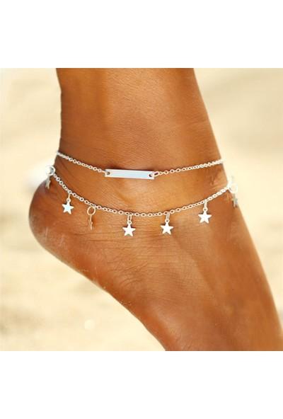 Hane14 Minik Yıldızlı Halhal Silver