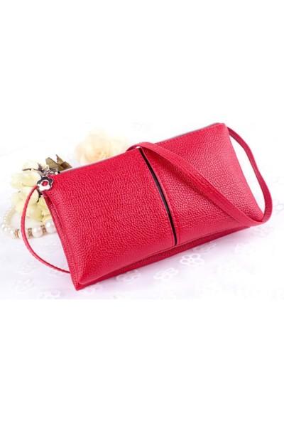 Elya Askılı Clutch Çanta Kırmızı