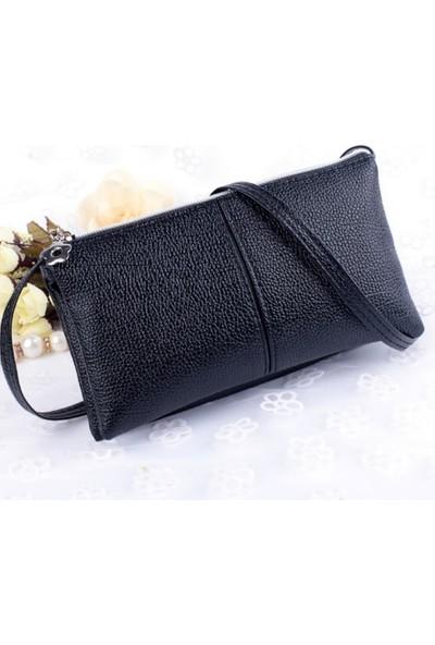 Elya Askılı Clutch Çanta Siyah