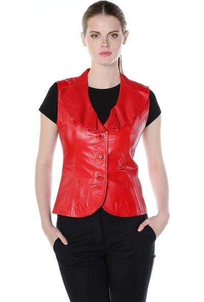 Deriderim Fw 4345 Bayan Yelek Kırmızı