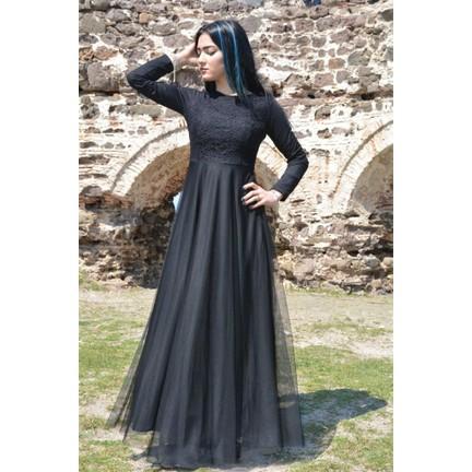 aa8162d7b48a3 Espenica Uzun Elbise Dantel Tül Tesettür Mezuniyet Abiye Düğün Nikah Balo  Nişan Elbise 3456