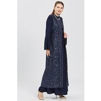 Esswaap Lacivert 2'li Içi Elbiseli Kaftan Uzun Ceketli Abiye Takım 48