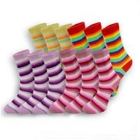 Dündar 12'li Pamuklu Çizgili Desenli Kadın Soket Çorap Karışık Renk